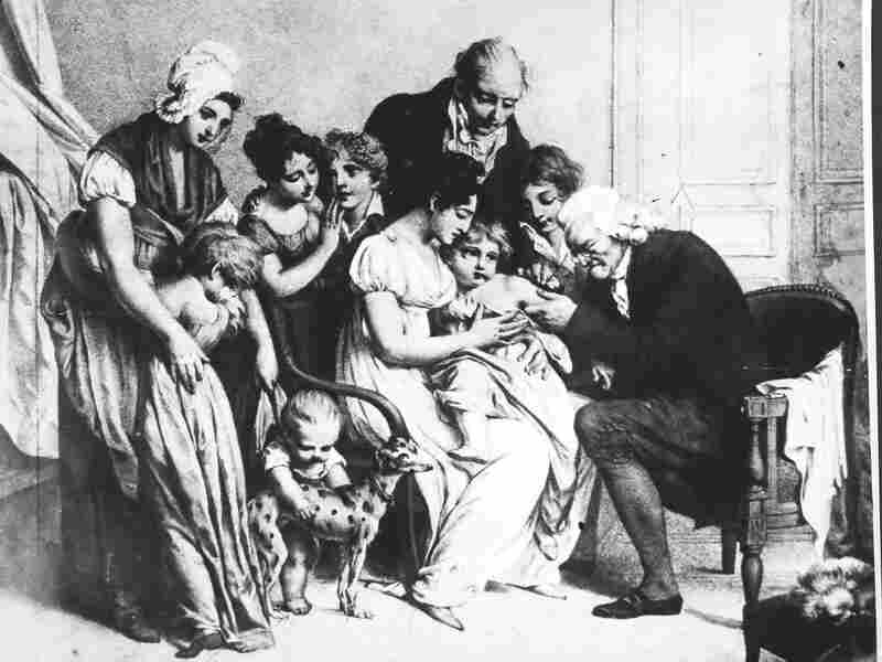 Edward Jenner inoculates a child against smallpox in 1796. The vaccine was effective in preventing the disease, but smallpox would not be completely eradicated worldwide until 1980.