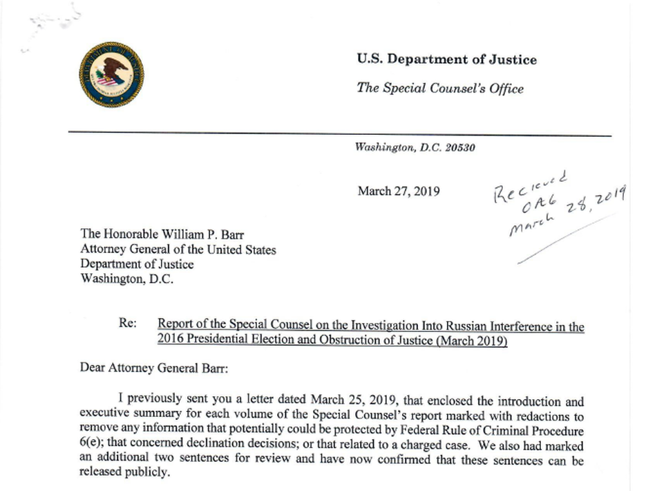 A screenshot of the letter special counsel Robert Mueller sent to Attorney General William Barr on March 27. (Justice Department/Screenshot by NPR)