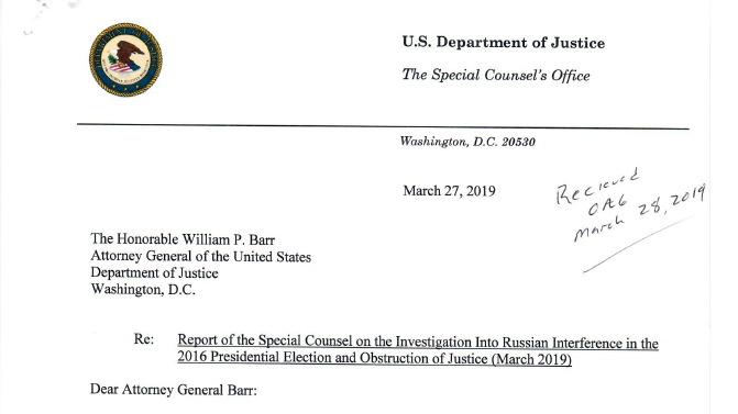 A screenshot of the letter special counsel Robert Mueller sent to Attorney General William Barr on March 27.