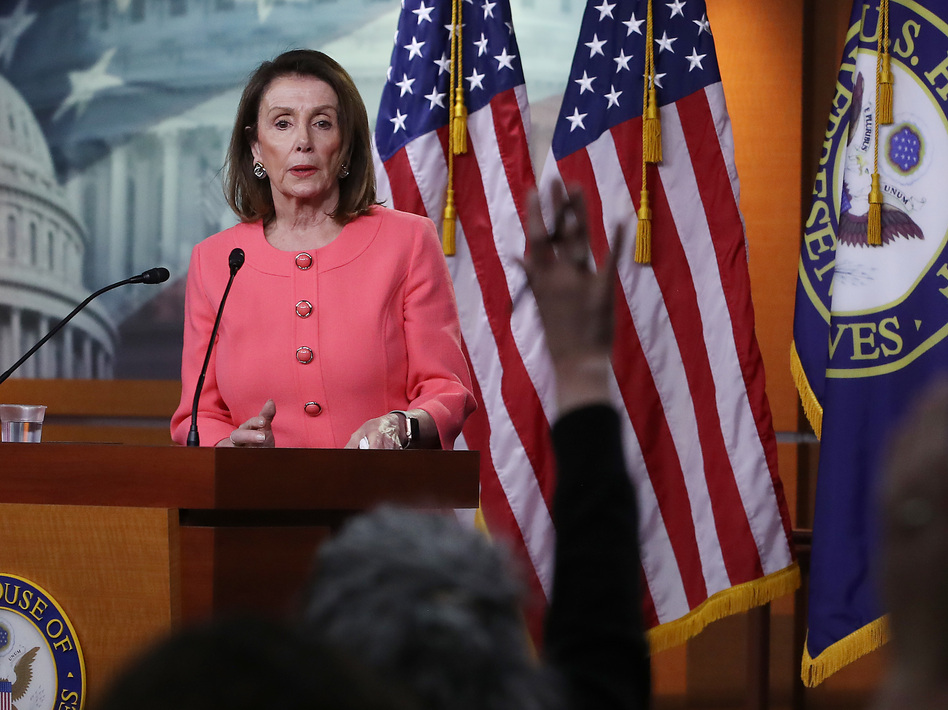 House Speaker Nancy Pelosi, D-Calif., speaks during her weekly news conference on Capitol Hill in Washington, D.C., on Thursday. Among the topics discussed were Attorney General William Barr's failure to appear before the House Judiciary Committee to discuss the special counsel report on Russia's interference in the 2016 election. (Mark Wilson/Getty Images)