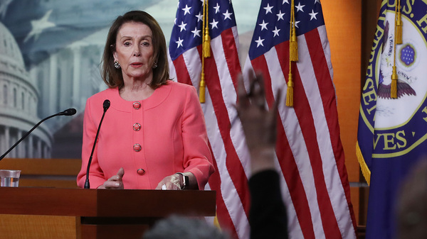 House Speaker Nancy Pelosi, D-Calif., speaks during her weekly news conference on Capitol Hill in Washington, D.C., on Thursday. Among the topics discussed were Attorney General William Barr