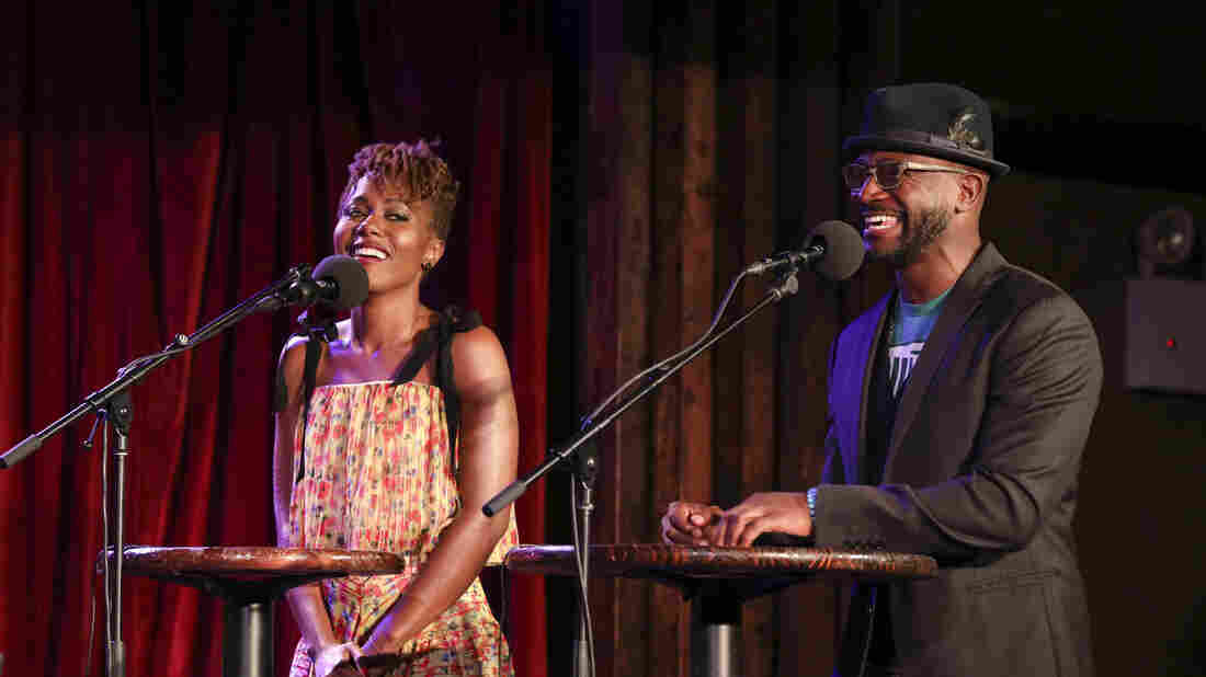 DeWanda Wise and Taye Diggs go head-to-head in a game on Ask Me Another at the Bell House in Brooklyn, New York.