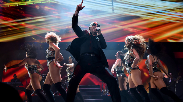Pitbull performs onstage at iHeartRadio Fiesta Latina in Miami, Fla. in 2018. Among his recent projects is voicing an animated one-eyed dog in UglyDolls.