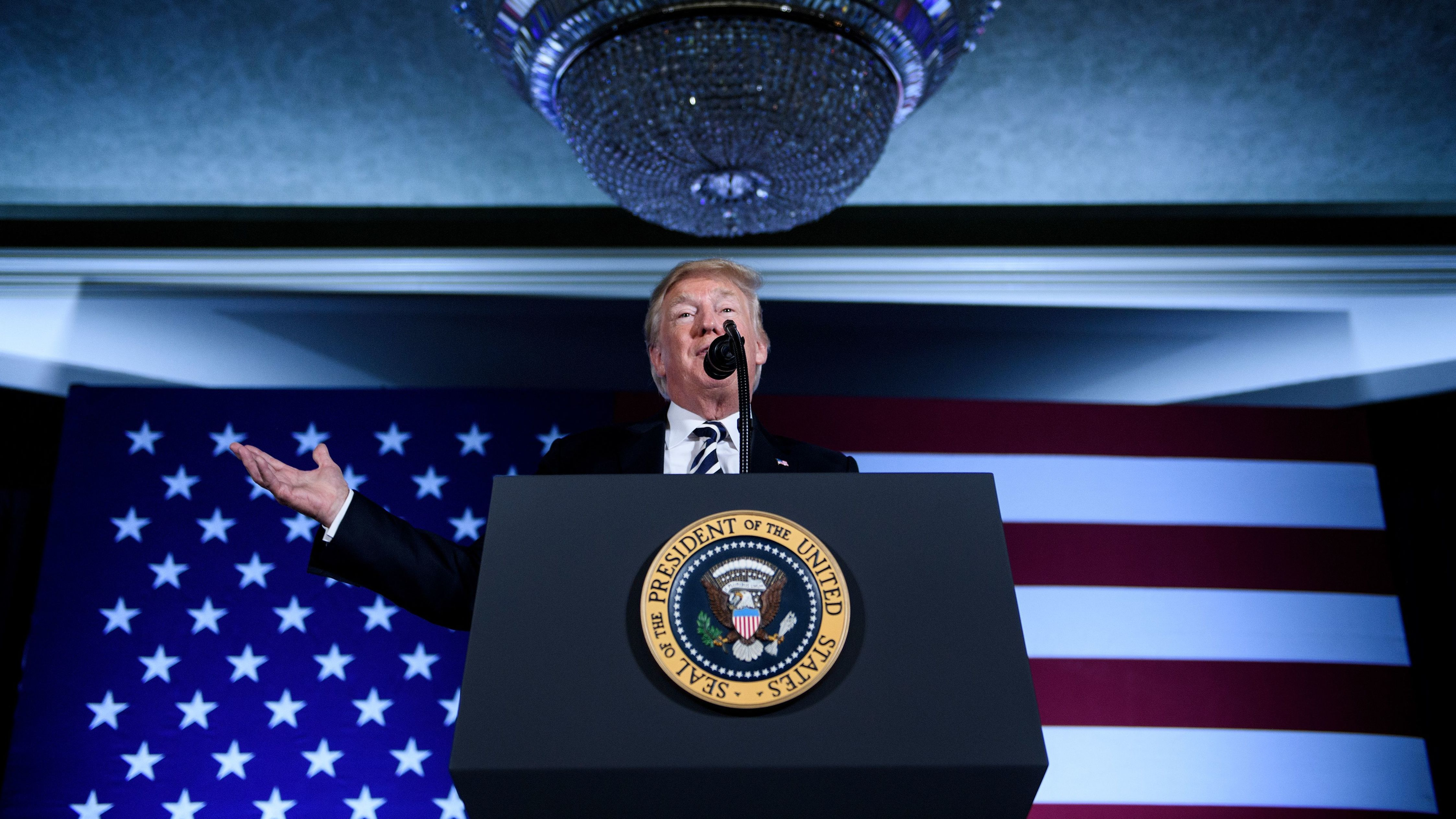 President Donald Trump speaks during an August 2018 fundraiser in Charlotte, N.C. As president, Trump has embraced high dollar fundraising events that he criticized while running for office.