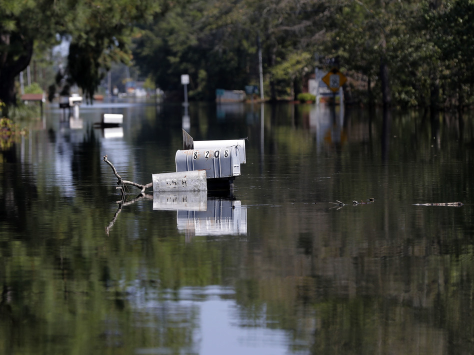 Hurricane Florence flooded Nichols, S.C., in September 2018. It was the second catastrophic flood in the region in less than two years. (Gerald Herbert/AP)