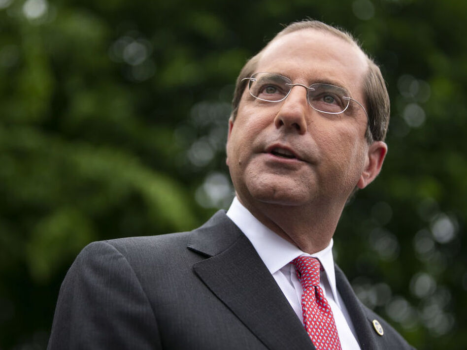 Alex Azar, secretary of Health and Human Services, announced a new rule requiring drugmakers to publish drug list prices in TV ads. (Al Drago/Bloomberg via Getty Images)