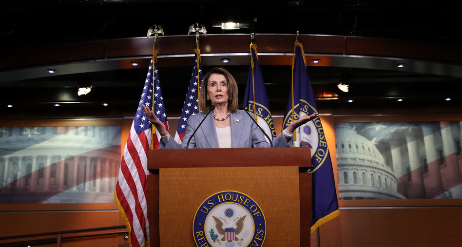 Speaker of the House Nancy Pelosi, D-Calif., answers questions during a press conference at the Capitol on Thursday. The House is expected to vote on whether to hold Attorney General William Barr in contempt of Congress. (Win McNamee/Getty Images)