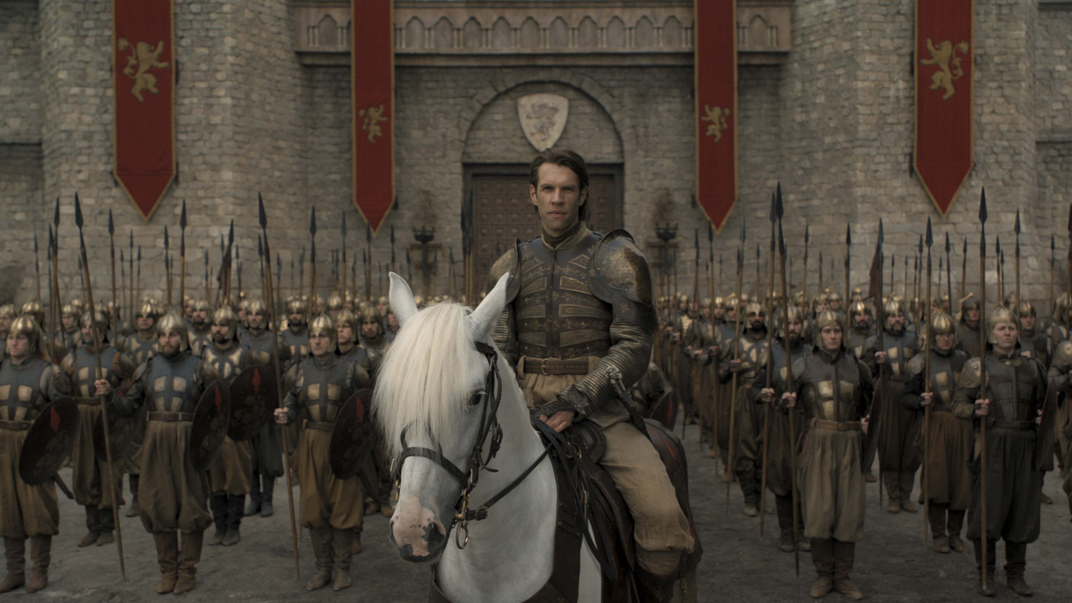 Big spears/Horse ears/Gol-den Companyyyyy: Harry Strickland (Marc Rissmann) — seriously, that's his name, Harry Strickland — leads an army of mercenaries in the penultimate episode of Game of Thrones.