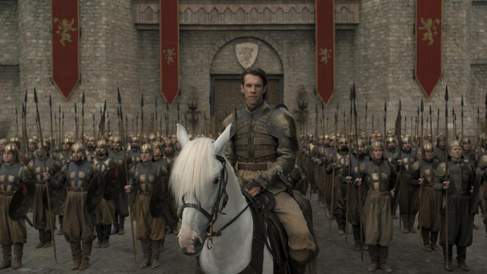 <em>Big spears/Horse ears/Gol-den Companyyyyy:</em> Harry Strickland (Marc Rissmann) — seriously, that's his name,<em> Harry Strickland</em> — leads an army of mercenaries in the penultimate episode of <em>Game of Thrones</em>. (HBO)