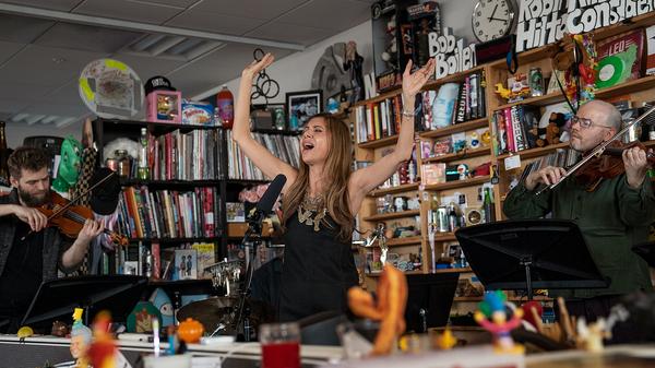 Magos Herrera and Brooklyn Rider perform a Tiny Desk Concert on March 6, 2019 (Amir Alfiky/NPR).