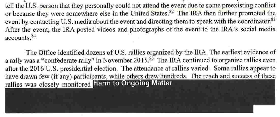 An mention from a Mueller news describes dozens of rallies orderly by a Russia-based Internet Research Agency.