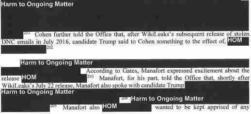 "This excerpt from the Mueller report describes how Paul Manafort ""expressed excitement about the release"" of WikiLeaks information."
