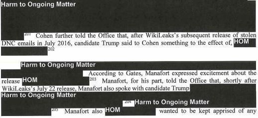 """This excerpt from the Mueller report describes how Paul Manafort """"expressed excitement about the release"""" of WikiLeaks information."""