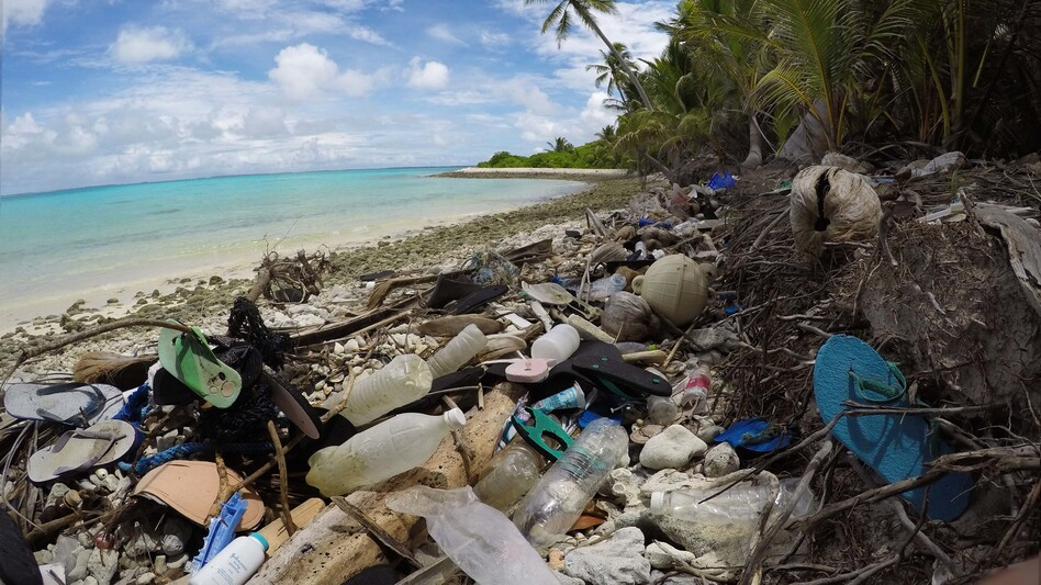 Debris blankets the north side of one of the Cocos Keeling Islands in the Indian Ocean. Researchers found a huge amount of plastic both onshore and buried in the sand. (Courtesy of Silke Stuckenbrock)