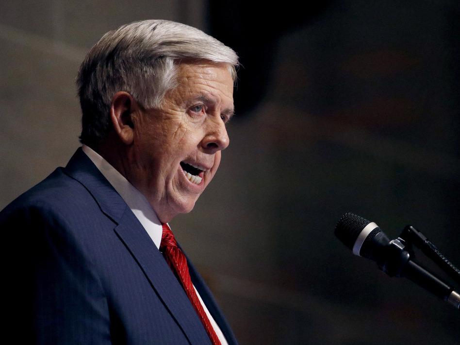 Missouri's Republican governor, Mike Parson, has been supportive of restricting abortions in the state. (Charlie Riedel/AP)