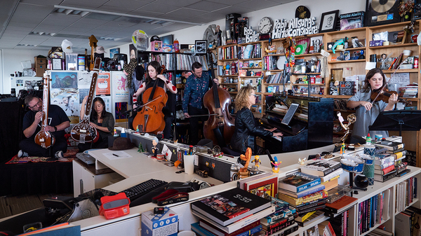 Ensemble Signal performs a Tiny Desk Concert on Jan. 25, 2019 (Claire Harbage/NPR).