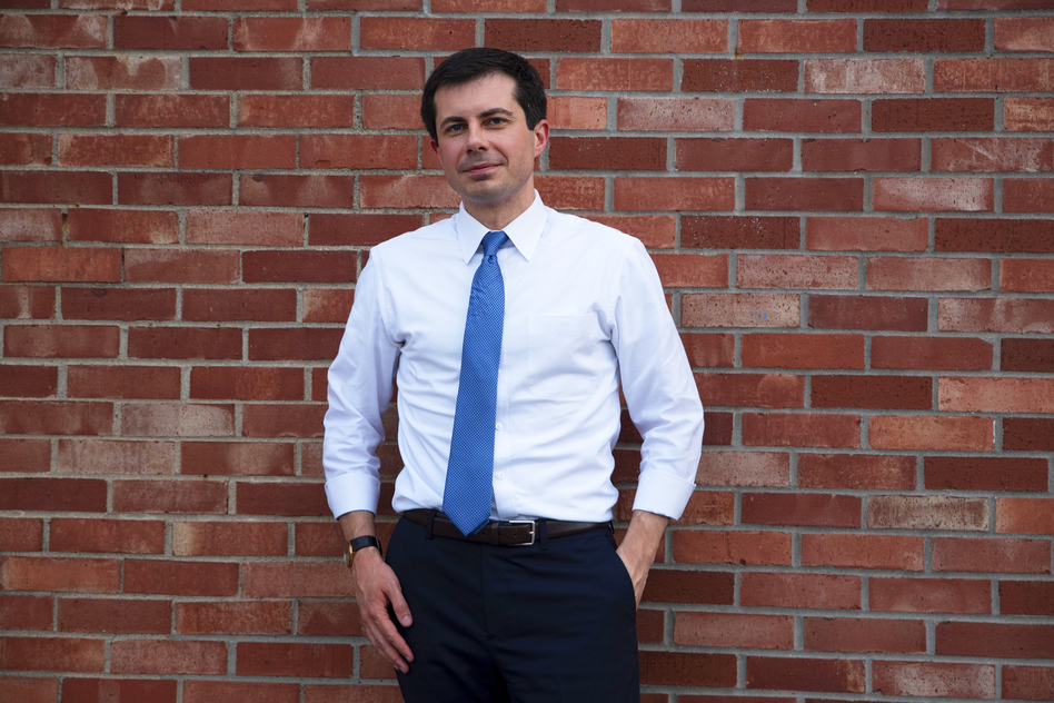 """Democratic presidential candidate Pete Buttigieg responded to President Trump's comments this past week about Buttigieg's marriage to Chasten Glezman. """"I'm more interested in policies that affect LGBTQ people,"""" Buttigieg said. (Olivia Sun for NPR)"""
