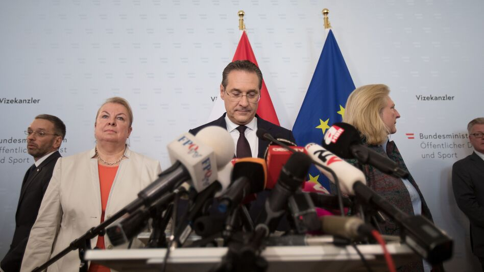 Austria's Vice Chancellor and chairman of the Freedom Party, Heinz-Christian Strache, announces his resignation at a press conference in Vienna on Saturday, following a video scandal. (Alex Halada/AFP/Getty Images)