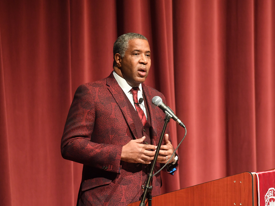 Robert F. Smith, founder, chairman and CEO of Vista Equity Partners, speaks at Morehouse College on Feb. 17, 2018 in Atlanta. Smith announced on Sunday he will pay off the student debt of the college's entire 2019 graduating class. (Paras Griffin/Getty Images)