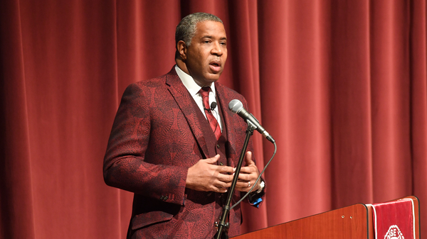 Robert F. Smith, founder, chairman and CEO of Vista Equity Partners, speaks at Morehouse College on Feb. 17, 2018 in Atlanta. Smith announced on Sunday he will pay off the student debt of the college