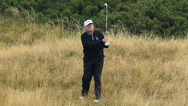 President Trump plays a round of golf at Trump Turnberry Luxury Collection Resort during his first official visit to the United Kingdom on July 15, 2018 in Turnberry, Scotland.