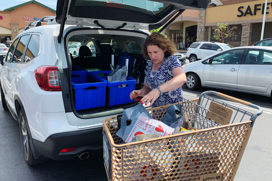 """""""I had one day I worked six hours and made $50. It really wasn't worth it. ... But it doesn't happen that often,"""" says Hilary Gordon, who works as a shopper for the grocery delivery app Instacart in a suburb of Sacramento, Calif. """"The other day I worked 11-and-a-half hours and made $265. Great? No. But good."""" (Alina Selyukh/NPR)"""