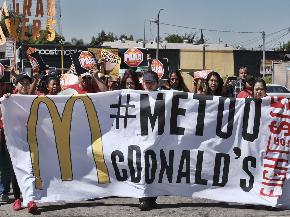 McDonald's workers marching in Los Angeles in September 2018 as part of a multi-state strike seeking to combat sexual harassment in the workplace. (Richard Vogel/AP)