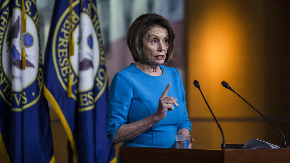 House Speaker Nancy Pelosi, D-Calif., speaks during a weekly news conference on May 16 on Capitol Hill. Pelosi is dealing with rising calls for impeachment proceedings against President Trump. (Zach Gibson/Getty Images)