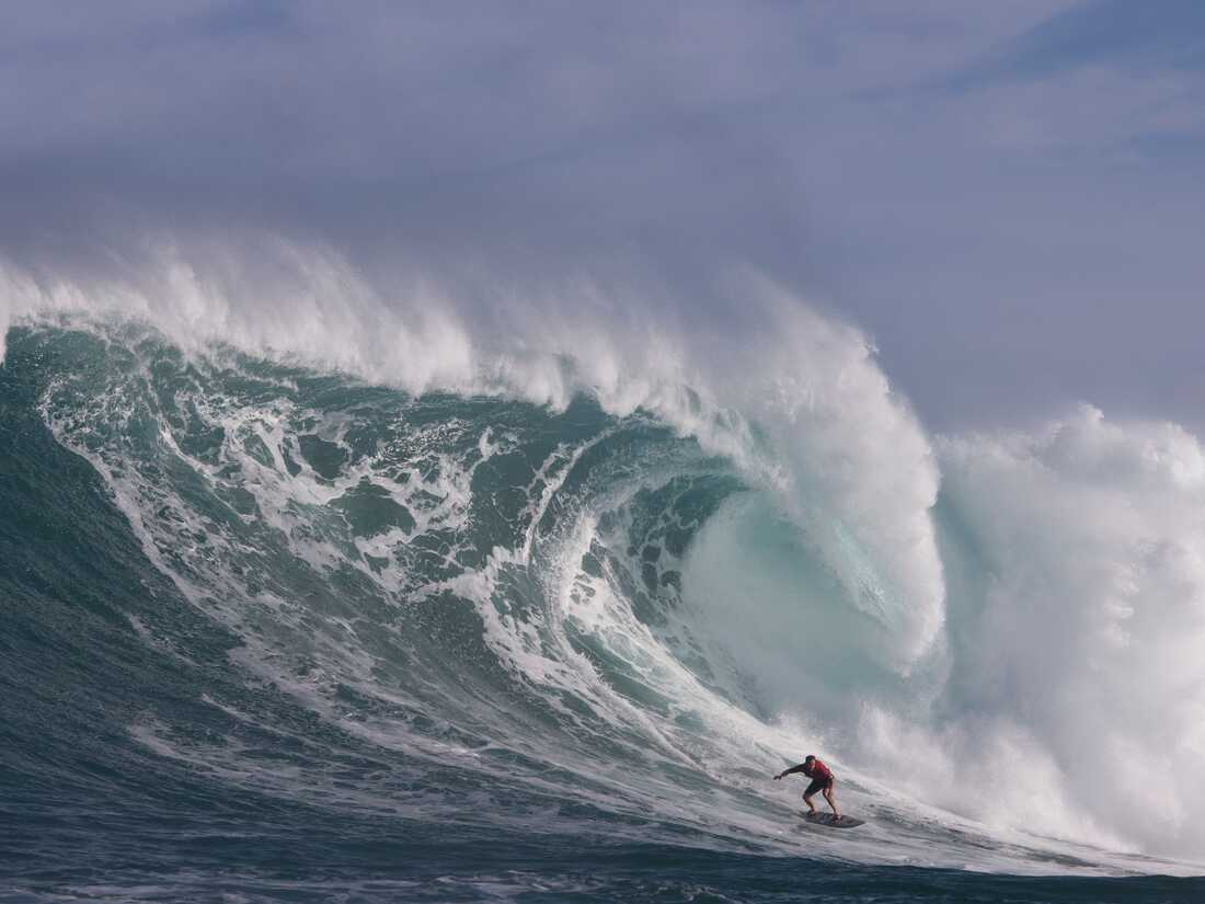 Hawaii's Makua Rothman surfs at Pe'ahi, also known as Jaws, during big wave surfing on January 14, 2018.