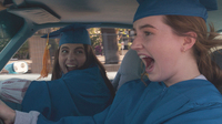 Beanie Feldstein, left, and Kaitlyn Dever, play Molly and Amy, two star students who decide they need to cram four years of high school partying into one night in <em>Booksmart.</em>