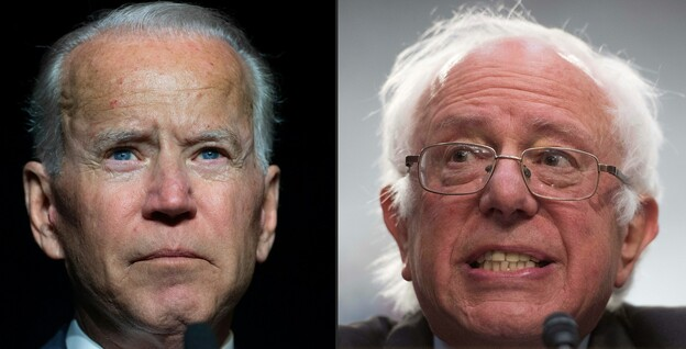 Former Vice President Joe Biden (left) and Sen. Bernie Sanders of Vermont are putting forward very different visions in the Democratic presidential primary. (Saul Loeb/AFP/Getty Images)