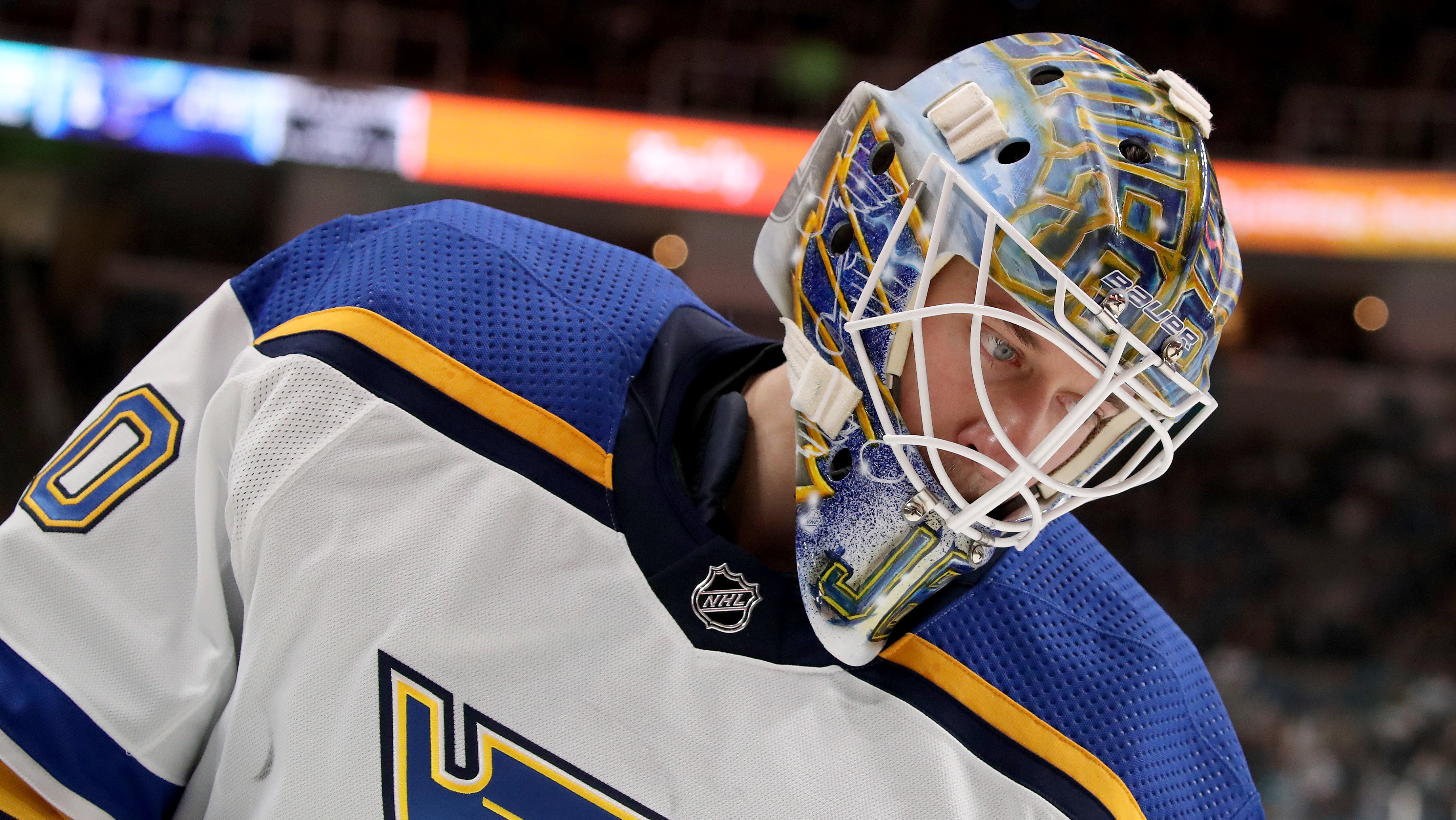 0ab21d498 Jordan Binnington, starting goaltender for the St. Louis Blues, looks on  during the first game of the Blues' playoff series with the San Jose Sharks  earlier ...