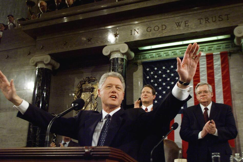 President Bill Clinton delivers the State of the Union address in January 1999 as his Senate impeachment trial was underway. Despite impeachment, Clinton was successful in working with Congress on legislation. (Win McNamee/AFP/Getty Images)