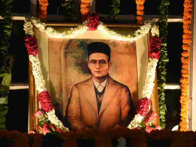 Portrait of Vinayak Damodar Savarkar in India's Parliament House, on May 28, 2016.