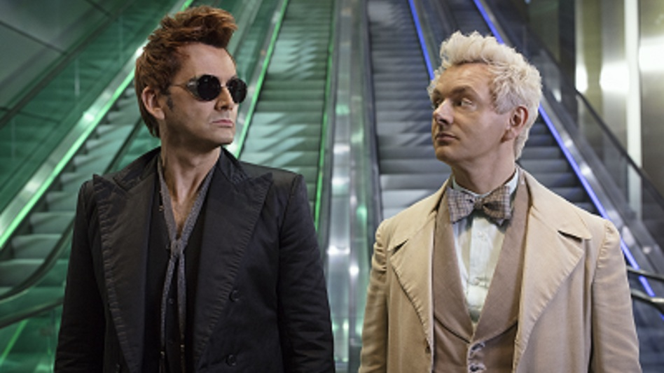 Dancing on the Escalator of Life (on the head of pin): The demon Crowley (David Tennant) and the angel Aziraphale (Michael Sheen) conspire to stave off the end of the world in <em>Good Omens</em>.