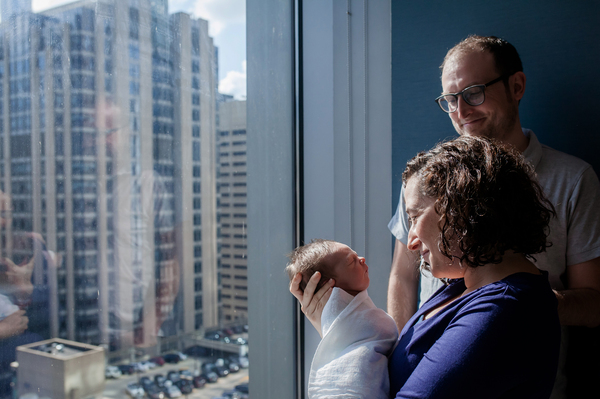 Reporter Jenny Gold and her husband, Alex Gourse, with their newborn son at Prentice Women's Hospital in Chicago two days after his birth.