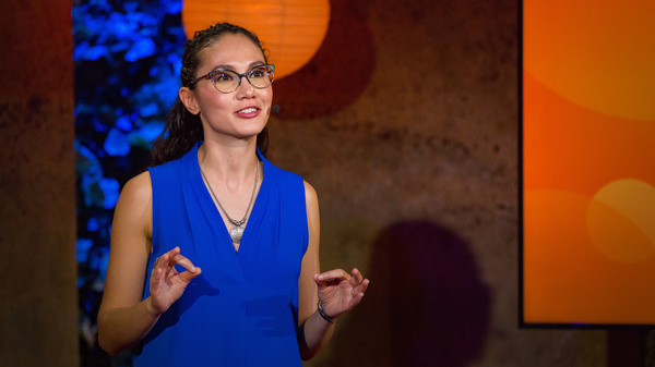 Leticia Gasca on the TED stage.