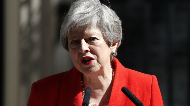 British Prime Minister Theresa May announces her resignation Friday at No. 10 Downing St. in London. (Alastair Grant/AP)
