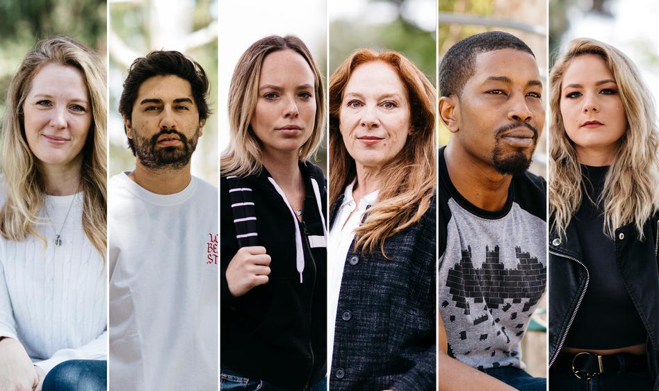 From left to right: Jacky St. James, David Cruz, Danielle Brinkley, Shira Tarrant, Isiah Maxwell, Lisey Sweet. (Liz Kuball for NPR)