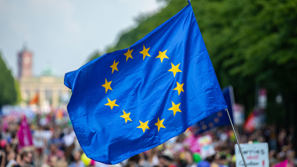 """A protester waves the European Union flag during the pro-Europe demonstration """"One Europe for All: Your voice against nationalism,"""" a week before Sunday"""
