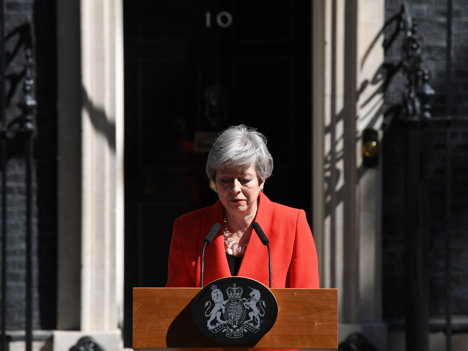 Prime Minister Theresa May announces her resignation outside No. 10 Downing St. in London on Friday. (Leon Neal/Getty Images)