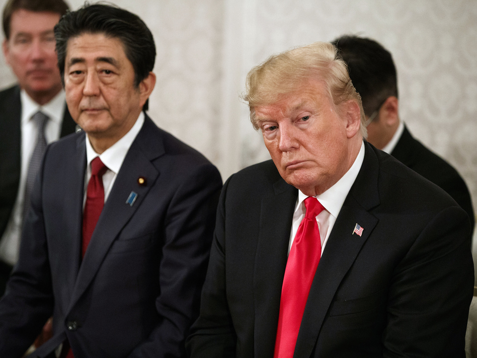 President Trump and Japanese Prime Minister Shinzo Abe at Akasaka Palace in Tokyo on Monday. (Evan Vucci/AP)
