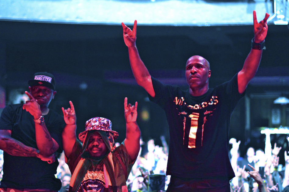 Left to right: Scarface, Bushwick Bill and Willie D of the Geto Boys perform in Houston in 2015. (Marco Torres/HOU/VMG via Getty Images)