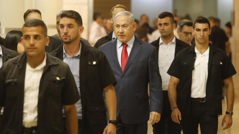 Israeli Prime Minister Benjamin Netanyahu on Wednesday in the Knesset, Israel's parliament in Jerusalem. (Sebastian Scheiner/AP)