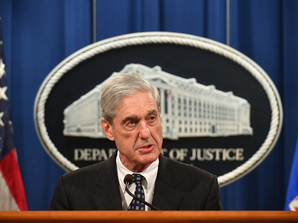Special counsel Robert Mueller speaks about the investigation into Russian interference in the 2016 presidential election, at the Justice Department on Wednesday. (Mandel Ngan/Getty Images)