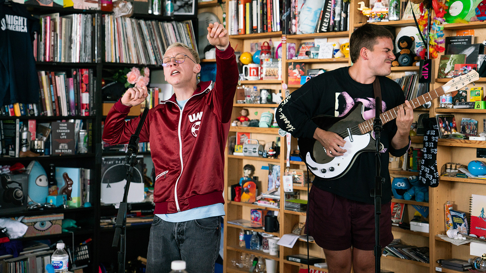 Quinn Christopherson performs a Tiny Desk Contest on May 28, 2019 (Claire Harbage/NPR). (Claire Harbage/NPR)