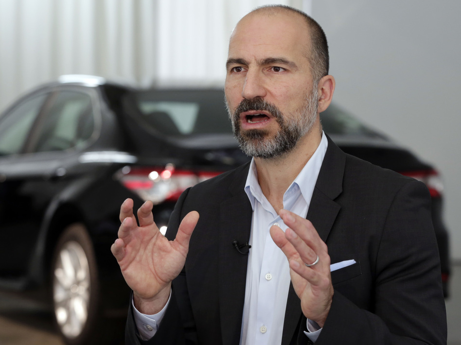 Uber CEO Dara Khosrowshahi says he expects Uber and Lyft will be easing off their price-slashing battle soon. (Richard Drew/AP)