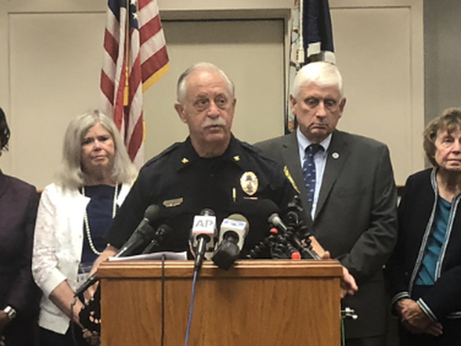 Virginia Beach Police Chief James Cervera addresses reporters at a press briefing on Sunday about the Virginia Beach shooting. Officials confirmed that the shooter resigned from his job just hours before the shooting. (Bobby Allyn/NPR)