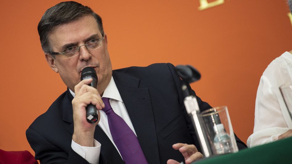 Mexican Foreign Minister Marcelo Ebrard attends a news conference with the Mexican delegation negotiating tariffs with U.S. officials on Monday in Washington, D.C. (Eric Baradat/AFP/Getty Images)