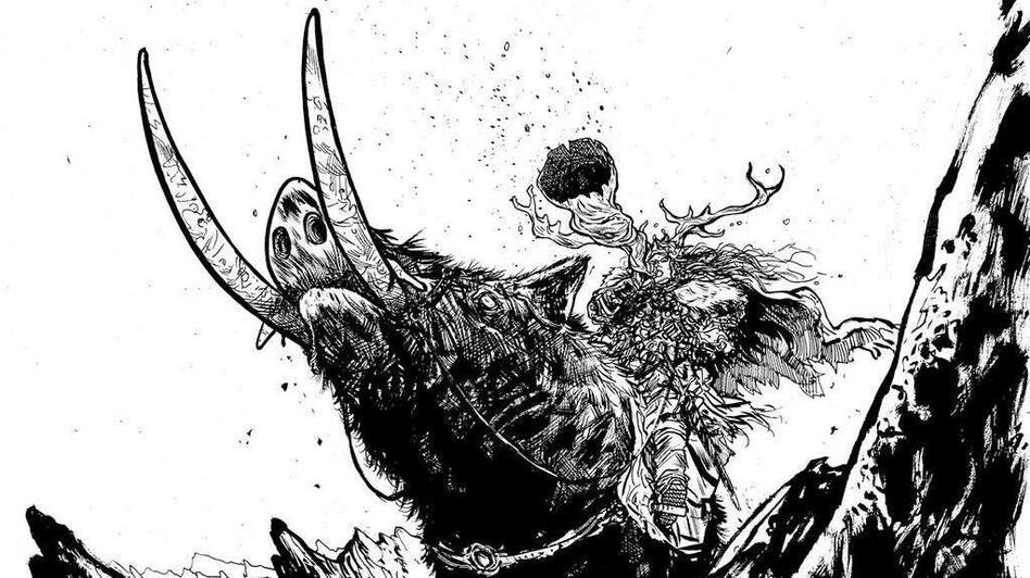 Comic book artist Daniel Warren Johnson (<em>Murder Falcon</em>, <em>Extremity</em>) illustrates the music of Viking's Choice. Horns up! (Daniel Warren Johnson)